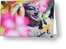 Stone Carved Statue Of Buddha Surrounded With Colorful Flowers Bali, Indonesia Greeting Card