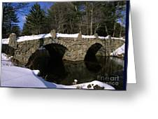 Stone Double Arched Bridge - Hillsborough New Hampshire Usa Greeting Card