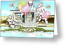 Stone Figures And Balloons Greeting Card