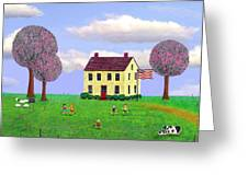 Stone House In Spring Greeting Card