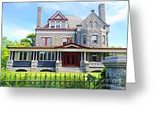 Stone Mansion Red Doors Greeting Card