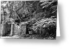 Stone Stairway Along The Wissahickon Creek In Black And White Greeting Card