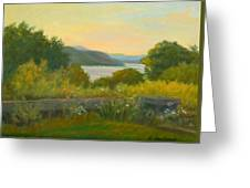 Stone Wall Above The Hudson Greeting Card