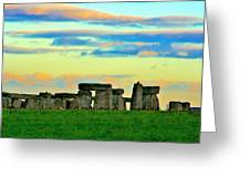 Stonehenge Sunset In Spring Greeting Card