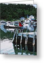Stonington Harbor With Pier Maine Coast Greeting Card