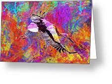 Stork Fly Elegant Feather Bird  Greeting Card