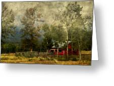 Storm Approaching White Birch Cottage Greeting Card
