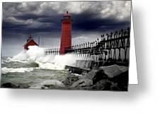 Storm At The Grand Haven Lighthouse Greeting Card