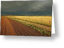 Storm Clouds Along A Saskatchewan Country Road Greeting Card