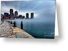 Storm Clouds And Fog Approaching Downtown Boston Massachusetts.  Greeting Card