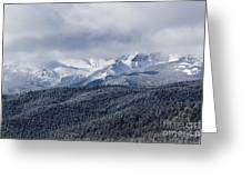 Storm Clouds Receding And Fresh Snow On Pikes Peak Greeting Card