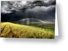 Storm Clouds And Rainbow Over Chaplin Lake Marshes Greeting Card