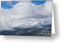 Storm Clouds And Snow On Pikes Peak Greeting Card
