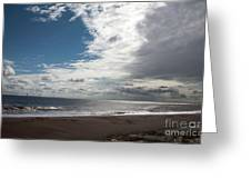 Storm Clouds Clearing The Beach With Wind Farm In The Background Skegness Lincolnshire England Greeting Card