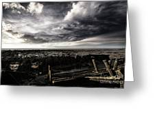 Storm Clouds Over Beached Shipwreck Greeting Card