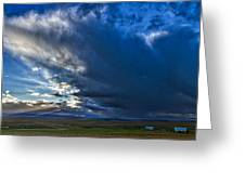 Storm Clouds Over Farmland #2 - Iceland Greeting Card