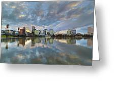 Storm Clouds Over Portland Skyline During Sunset Greeting Card