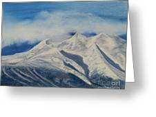 Storm Clouds Over Winter Mountain Blues Greeting Card