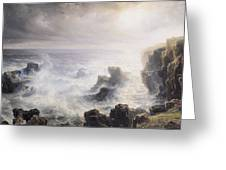 Storm Off The Coast Of Belle Ile Greeting Card