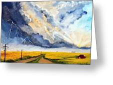 Storm Over The Country Road Greeting Card