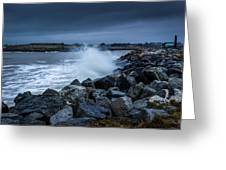 Storm Over The Jetty 1 Greeting Card