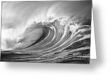 Storm Wave - Bw Greeting Card