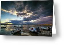 Storms At Dusk In La Caleta Cadiz Spain Greeting Card