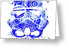Stormtrooper Mask Blue 1 Greeting Card