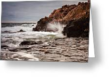 Stormy Beach Waves Greeting Card