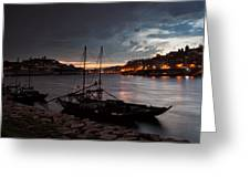 Stormy Evening Sky Above Porto And Gaia Greeting Card
