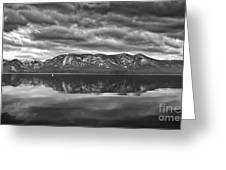Stormy Lake Tahoe Black And White Greeting Card