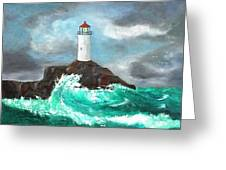 Stormy Ligthouse Greeting Card