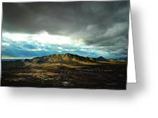 Stormy Mountains In Sunlight Greeting Card