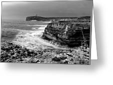 stormy sea - Slow waves in a rocky coast black and white photo by pedro cardona Greeting Card