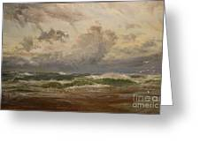 Stormy Sea At Bude Greeting Card