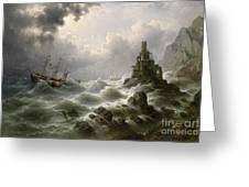 Stormy Sea With Lighthouse On The Coast Greeting Card