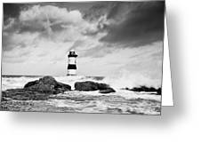 Stormy Seas Black And White Greeting Card