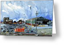 Stormy Sky Over Shipyard And Steel Mill Greeting Card