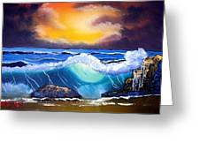 Stormy Sunset Shoreline Greeting Card