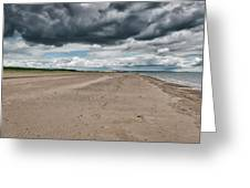 Stormy Weather Over Tentsmuir Beach In Scotland Greeting Card