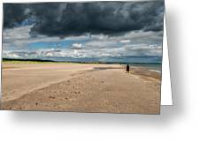 Stormy Weather Over The Beach In Scotland Greeting Card