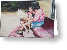 Storytime On The Steps 2 Greeting Card