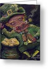 St.patricks Day Pig Greeting Card
