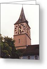 St.peter Church Clock In Zurich Switzerland Greeting Card