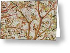 Strange Forest With Small Birds Greeting Card