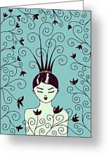Strange Hairstyle And Flowery Swirls Greeting Card