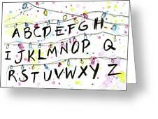 Stranger Things Alphabet Wall Christmas Lights Greeting Card