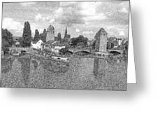 Strasbourg. View From The Barrage Vauban. Black And White 2 Greeting Card