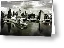 Strasbourg. View From The Barrage Vauban. Black And White Greeting Card