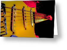 Guitar Pop Art Hot Rasberry Fire Neck Series Greeting Card